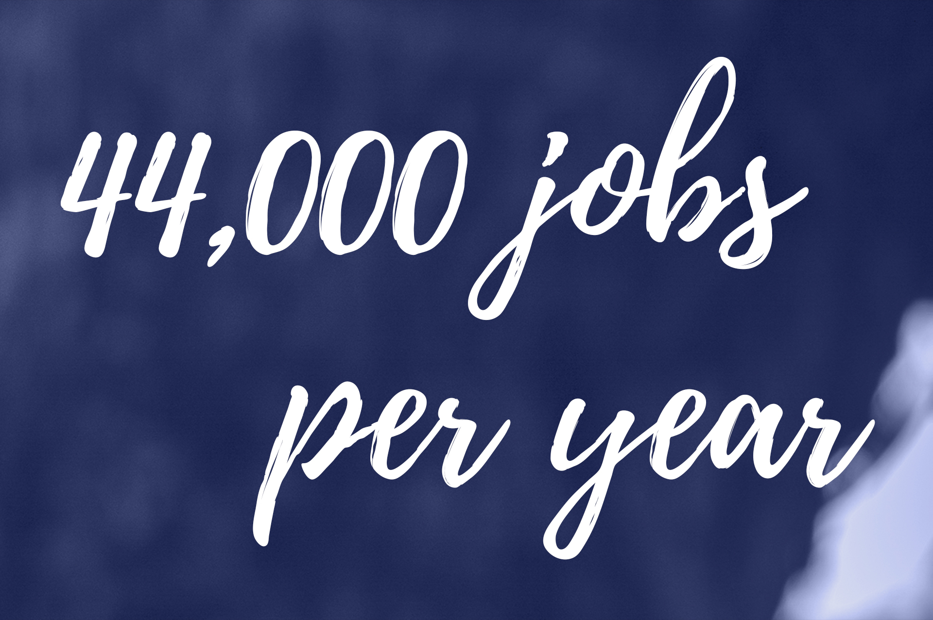 "A header saying ""44,000 jobs per year"""